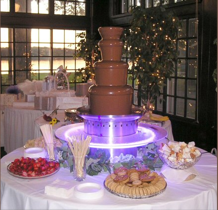 Chocolate fountain drip guard / illuminated surround