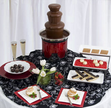 Chocolate Fountain recipe - Sephra Classic Stainless Steel Red Chocolate Fountain with hazlenut fondue